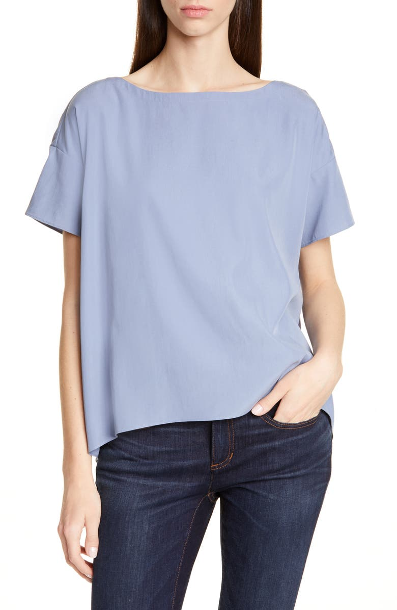 EILEEN FISHER High/Low Top, Main, color, CHAMBRAY