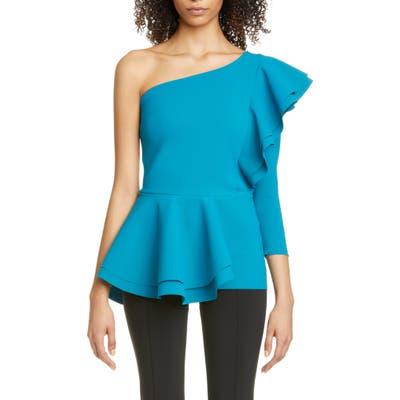 Chiara Boni La Petite Robe Ulrikke One-Shoulder Ruffle Peplum Top, US / 42 IT - Blue