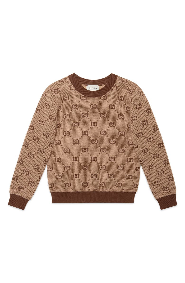 GUCCI Logo Jacquard Wool Blend Sweater, Main, color, 254