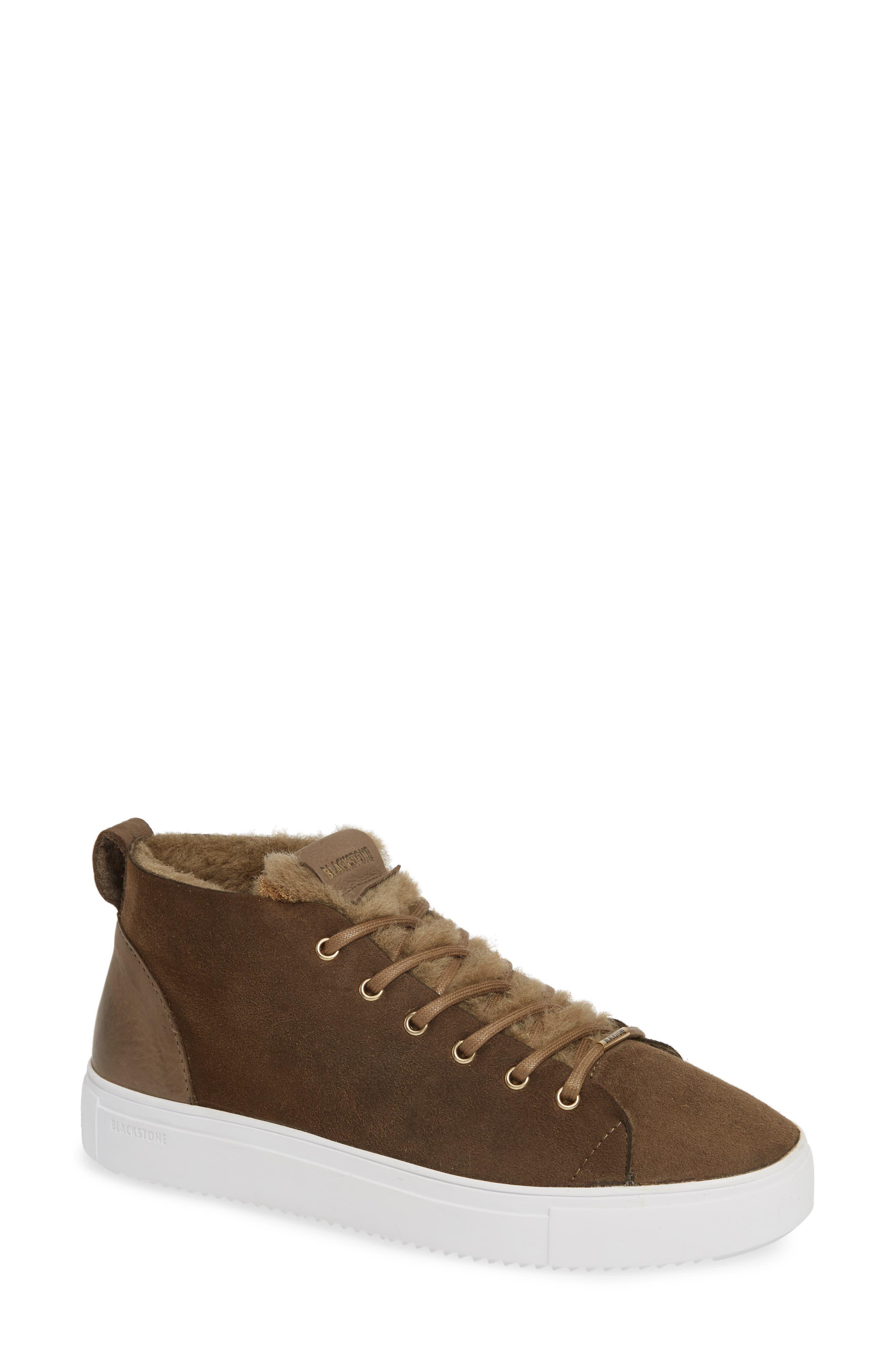 Blackstone Ql48 Genuine Shearling Lined High Top Sneaker, Green