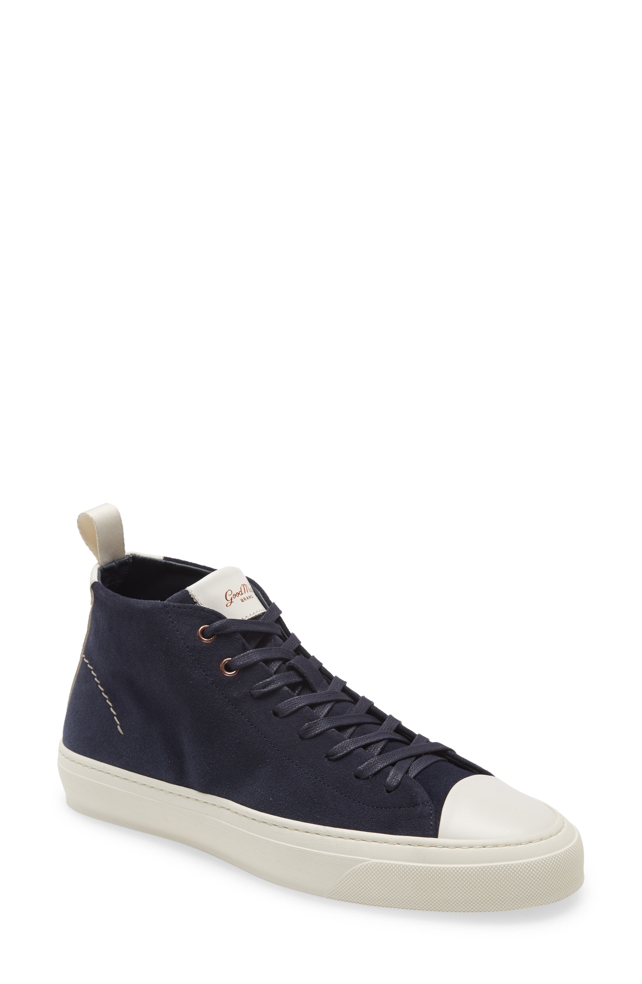 Contrast accents pop at the tongue and race up the back of an optic-white high-top sneaker finished with flashes of rose gold on the top grommets. Style Name: Good Man Brand Legacy High Top Sneaker (Men). Style Number: 5835121. Available in stores.
