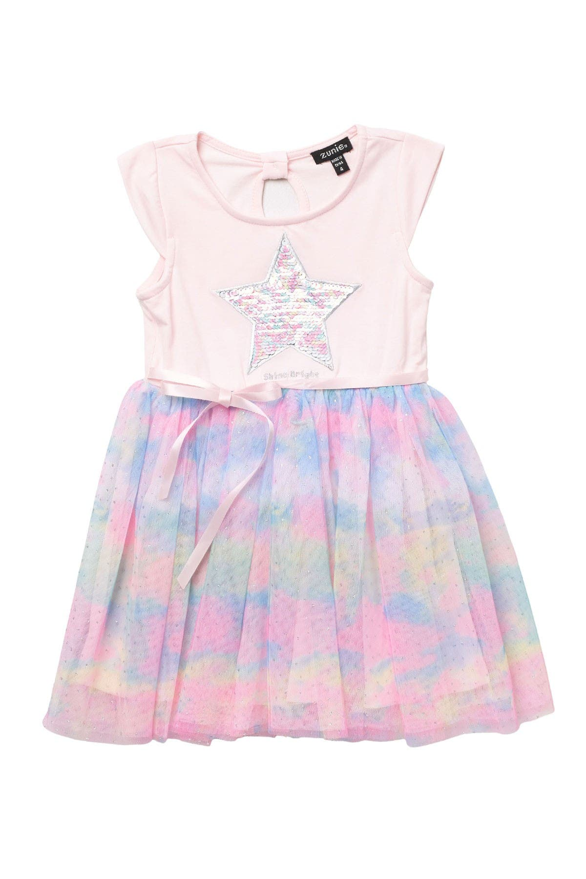 Image of Zunie Cap Sleeve Rainbow Tutu Skirt Dress
