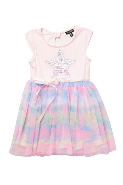 Image of Zunie Cap Sleeve Rainbow Tutu Skirt Dress