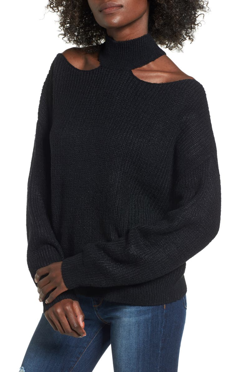 WOVEN HEART Cutout Turtleneck Sweater, Main, color, 001