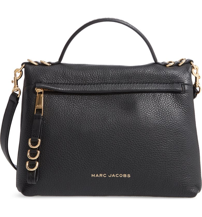 MARC JACOBS The Two Fold Leather Satchel, Main, color, BLACK