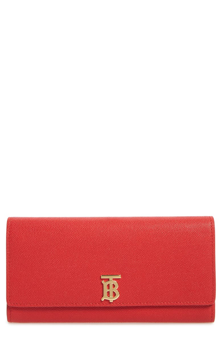 BURBERRY Halton TB Monogram Leather Wallet, Main, color, BRIGHT RED