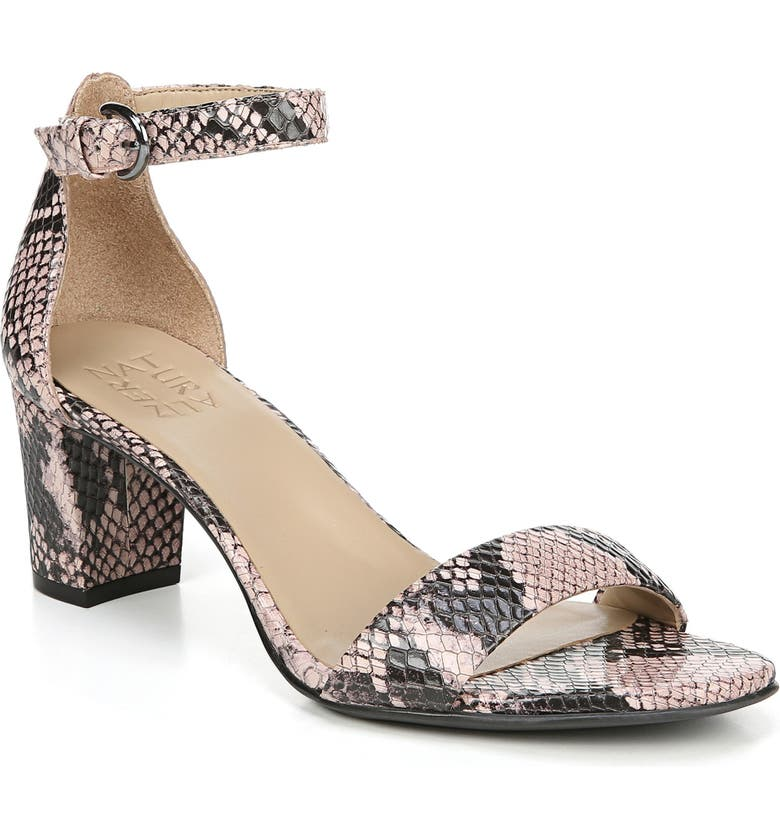 NATURALIZER Vera Ankle Strap Sandal, Main, color, DUSTY ROSE SNAKE PRINT LEATHER