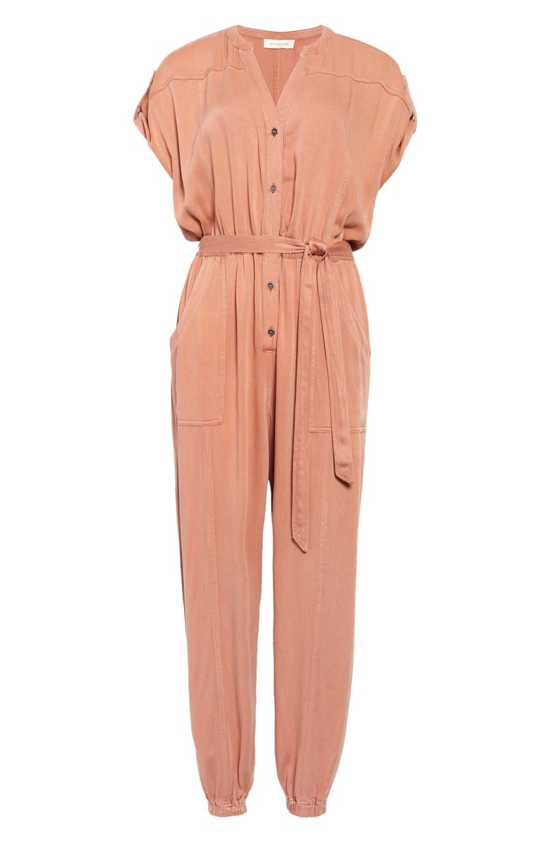 TREASURE & BOND Tie Waist Twill Jumpsuit, Main, color, DUSTY PINK