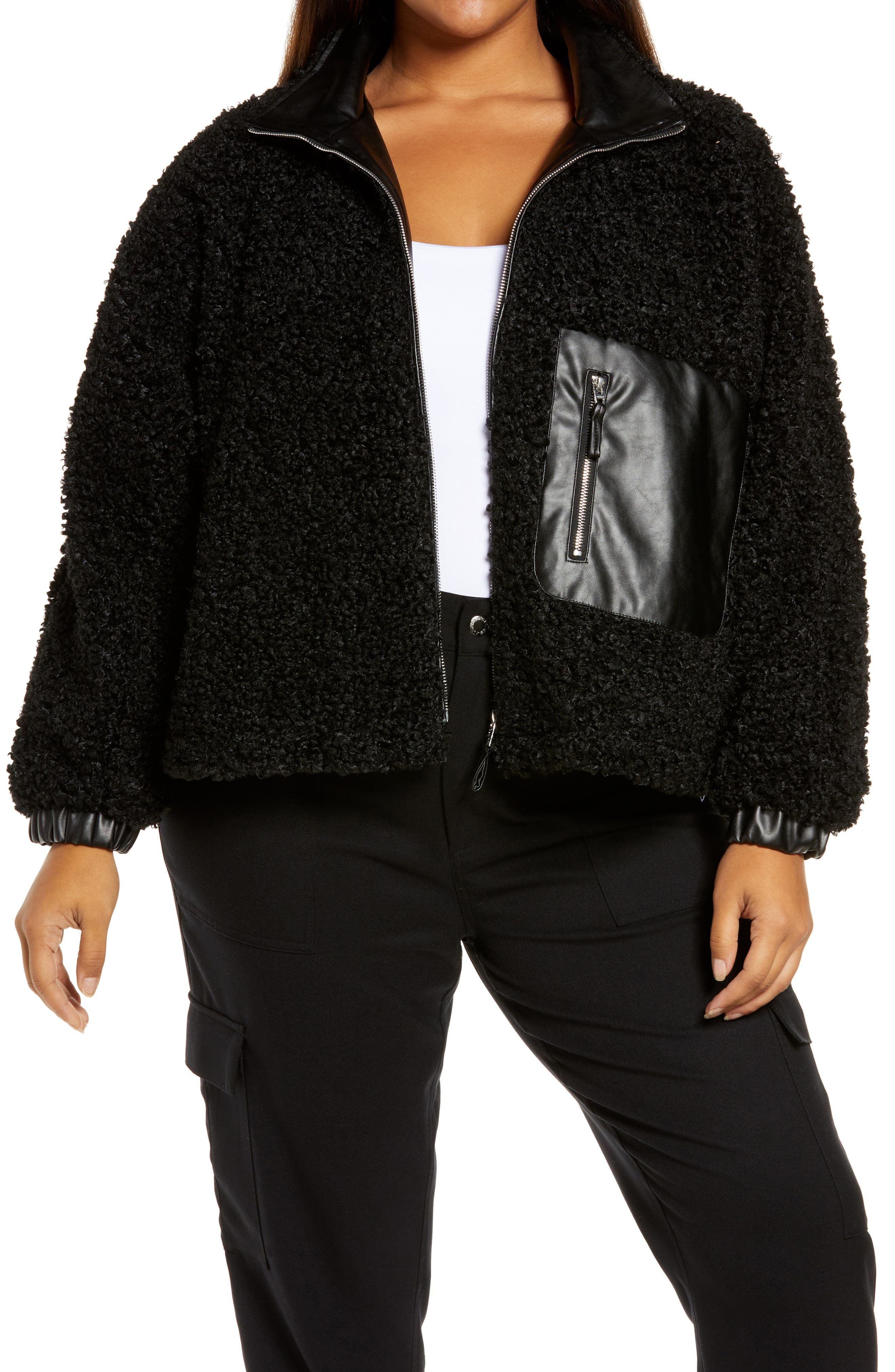 Plus Size Women's Blanknyc Faux Shearling With Faux Leather Trim Bomber Jacket, Size 1X - Black