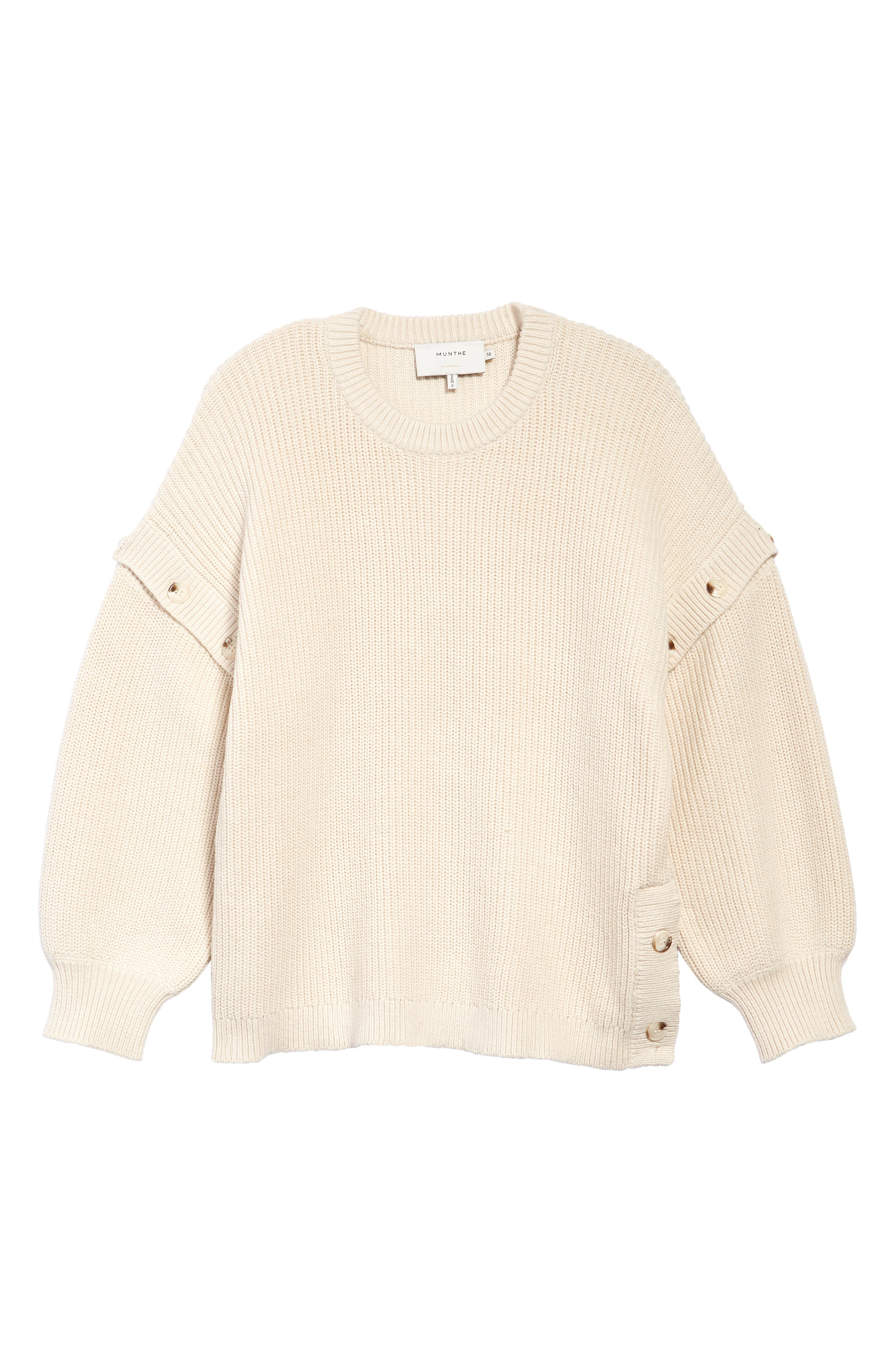 Crew Neck Button Accent Long Sleeve Sweater