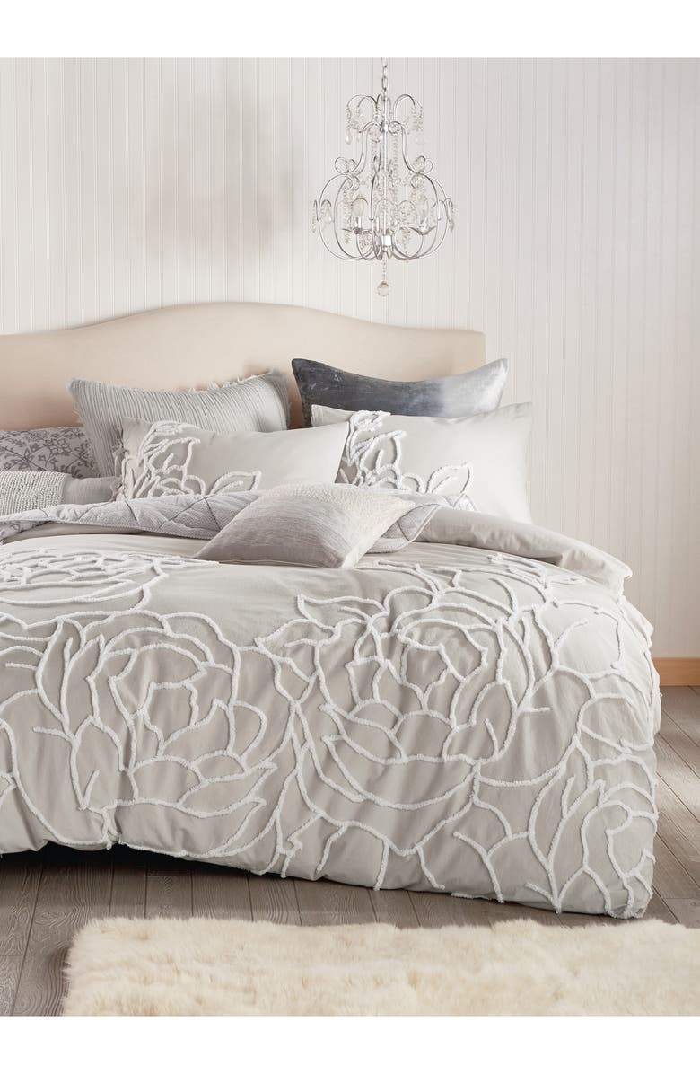PERI HOME Chenille Rose Comforter & Sham Set, Main, color, GREY