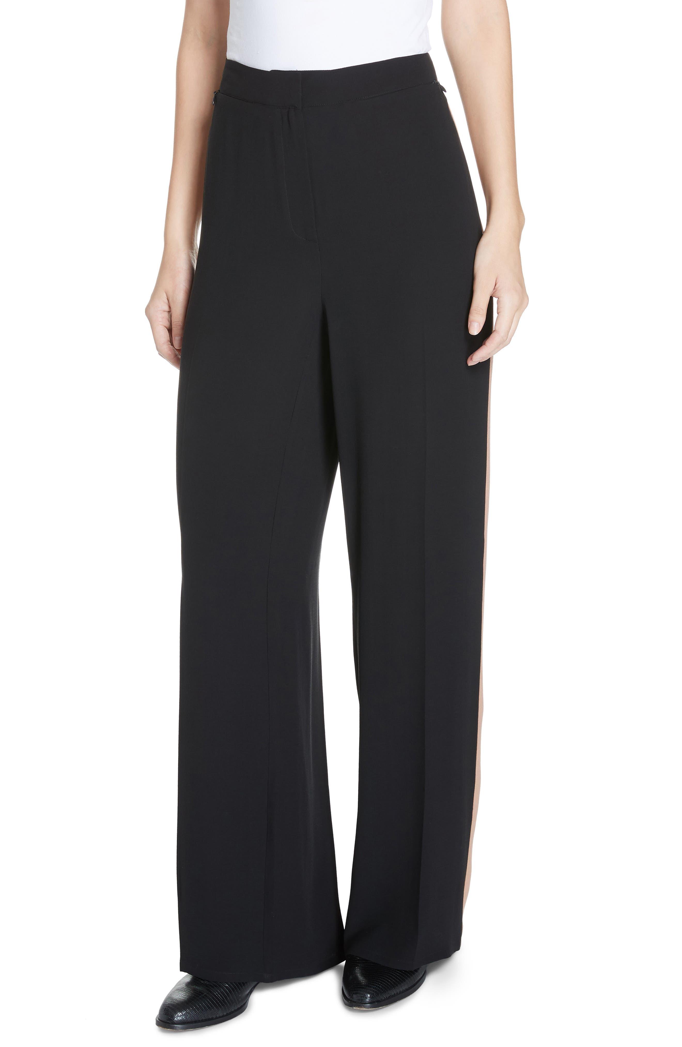 Petite Women's Eileen Fisher High Waist Side Stripe Silk Crepe Pants