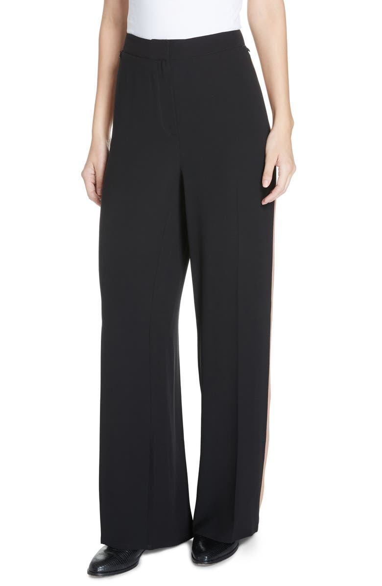 EILEEN FISHER High Waist Side Stripe Silk Crepe Pants, Main, color, BLACK