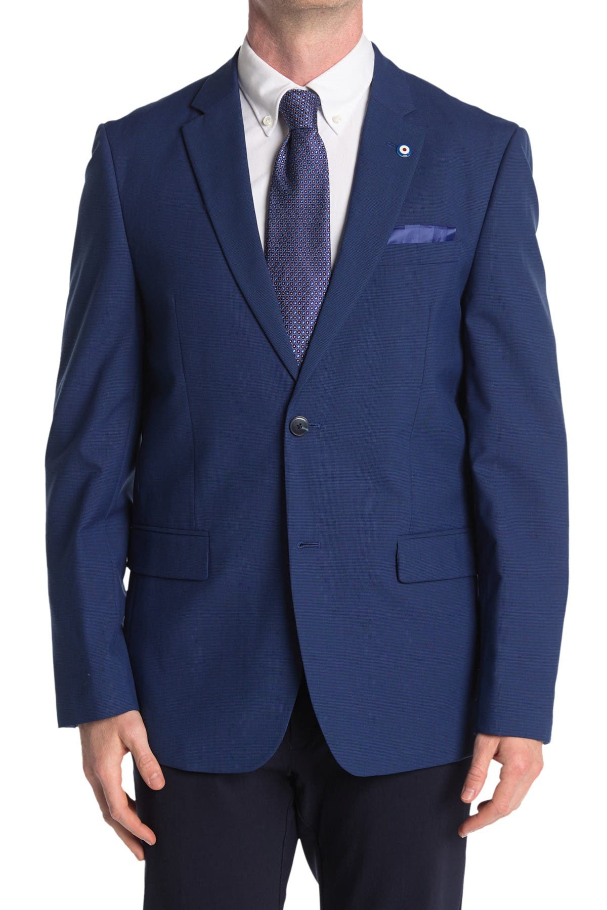 Image of Ben Sherman Blue Solid Two Button Notch Lapel Union Fit Sport Coat