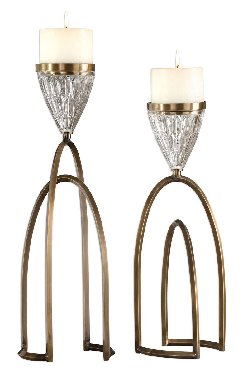 UTTERMOST Carma Set of 2 Candleholders, Main, color, PLATED COFFEE BRONZE