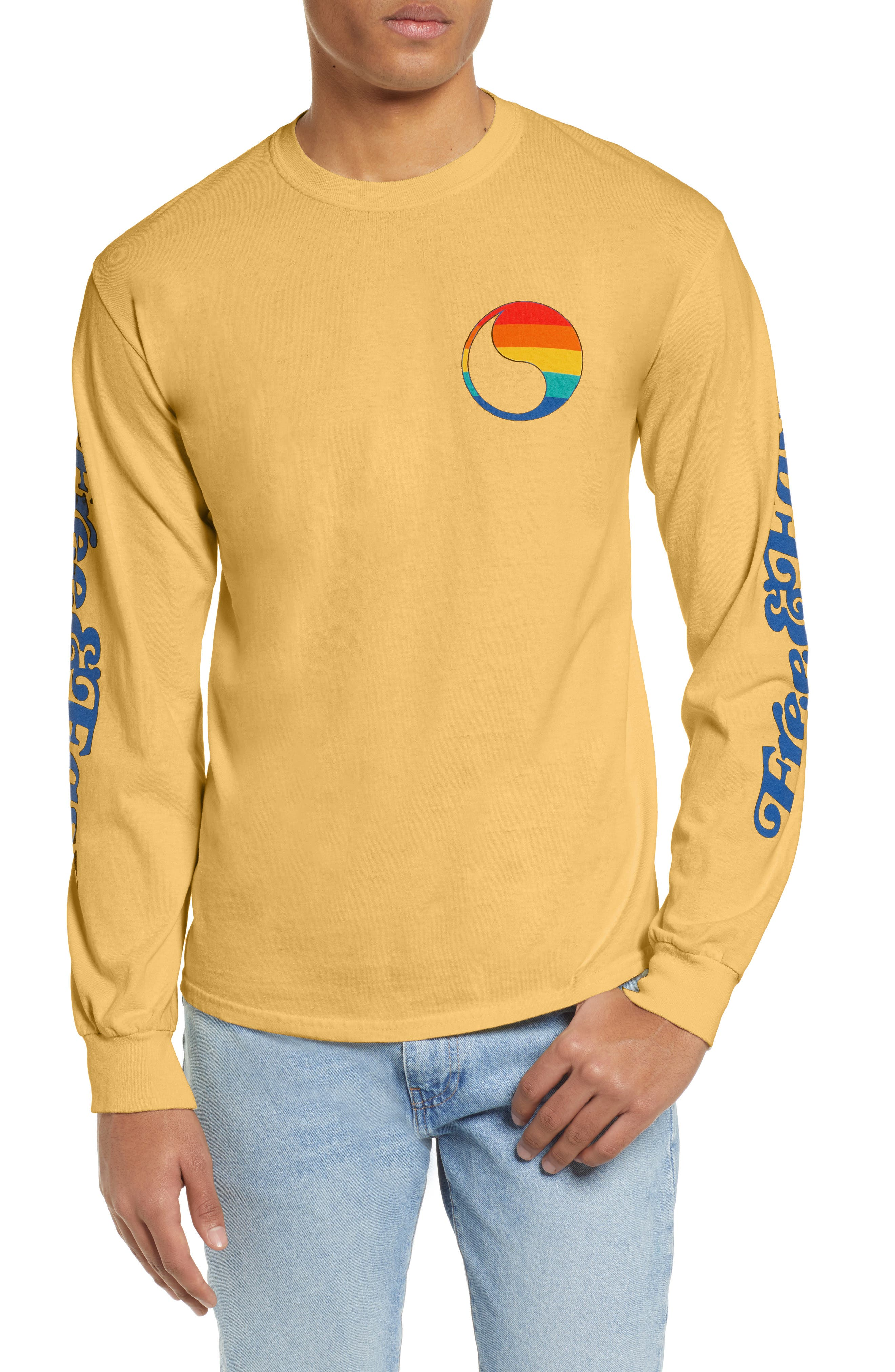 ,                             Free & Easy Rainbow Yin Yang Long Sleeve T-Shirt,                             Main thumbnail 1, color,                             YELLOW