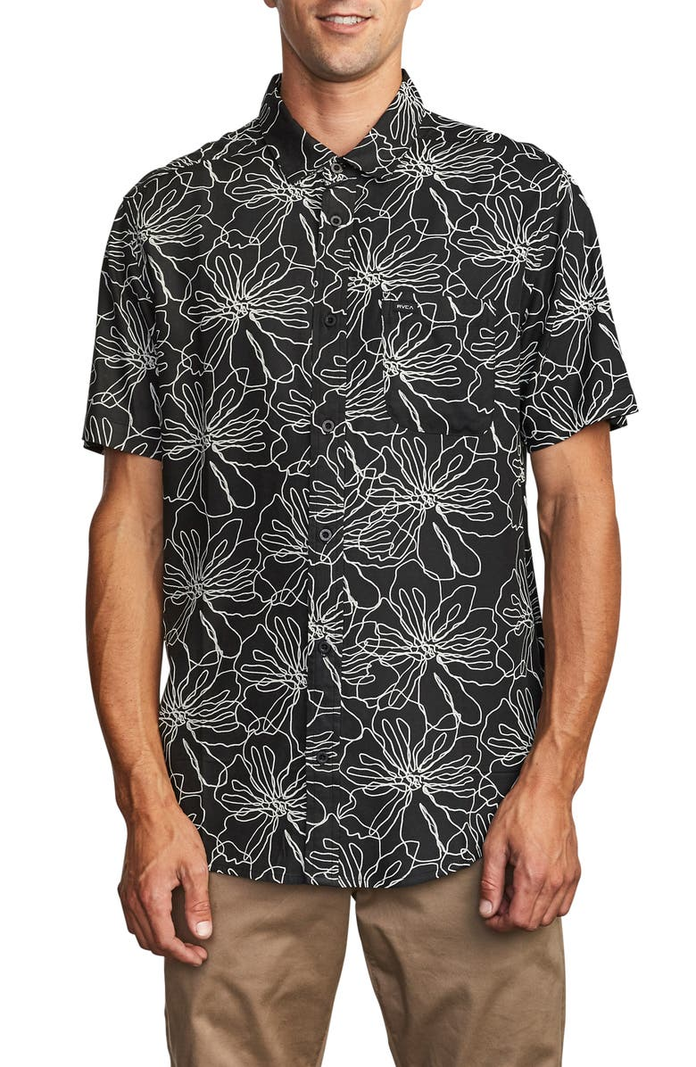 RVCA Blind Floral Short Sleeve Button-Up Shirt, Main, color, BLACK/ WHITE