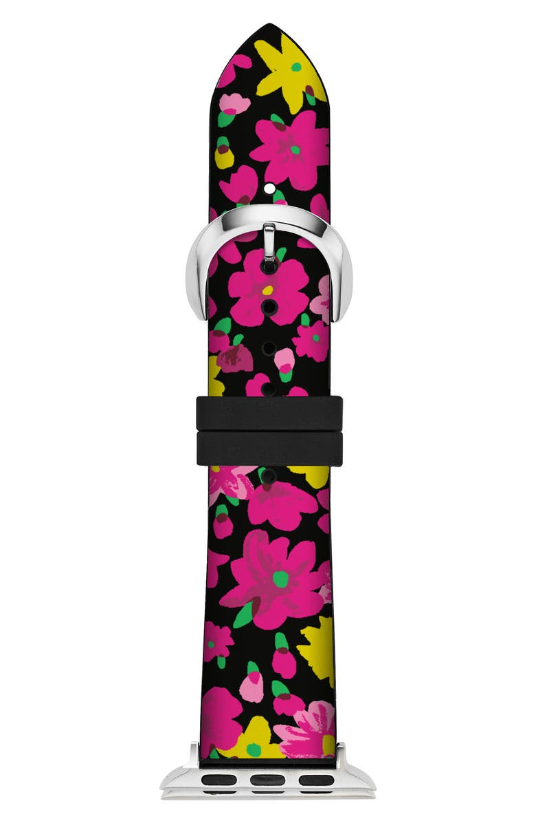 KATE SPADE NEW YORK Apple<sup>®</sup> Watch strap, 38mm, Main, color, BLACK/ PINK/ YELLOW FLORAL