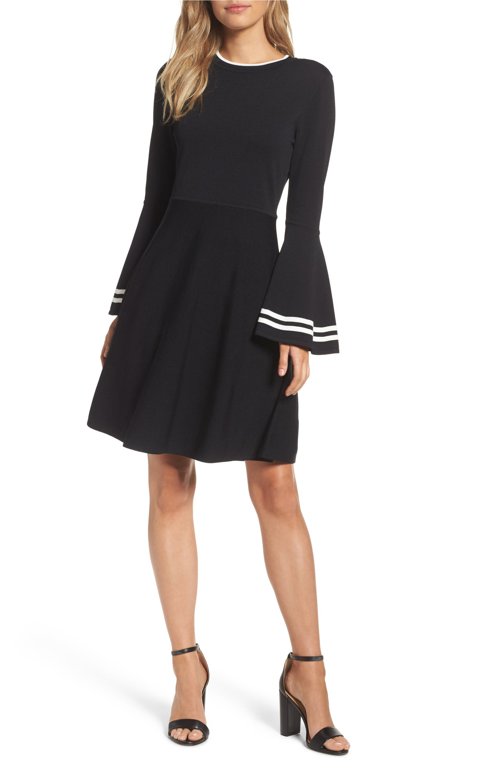 660d35e6a Eliza J Stripe Bell Sleeve Fit & Flare Dress | Nordstrom