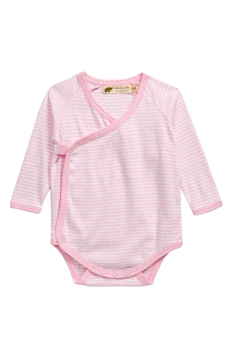 MONICA + ANDY Lucky Stripe Organic Cotton Bodysuit, Main, color, PINK + WHITE FRENCH STRIPES