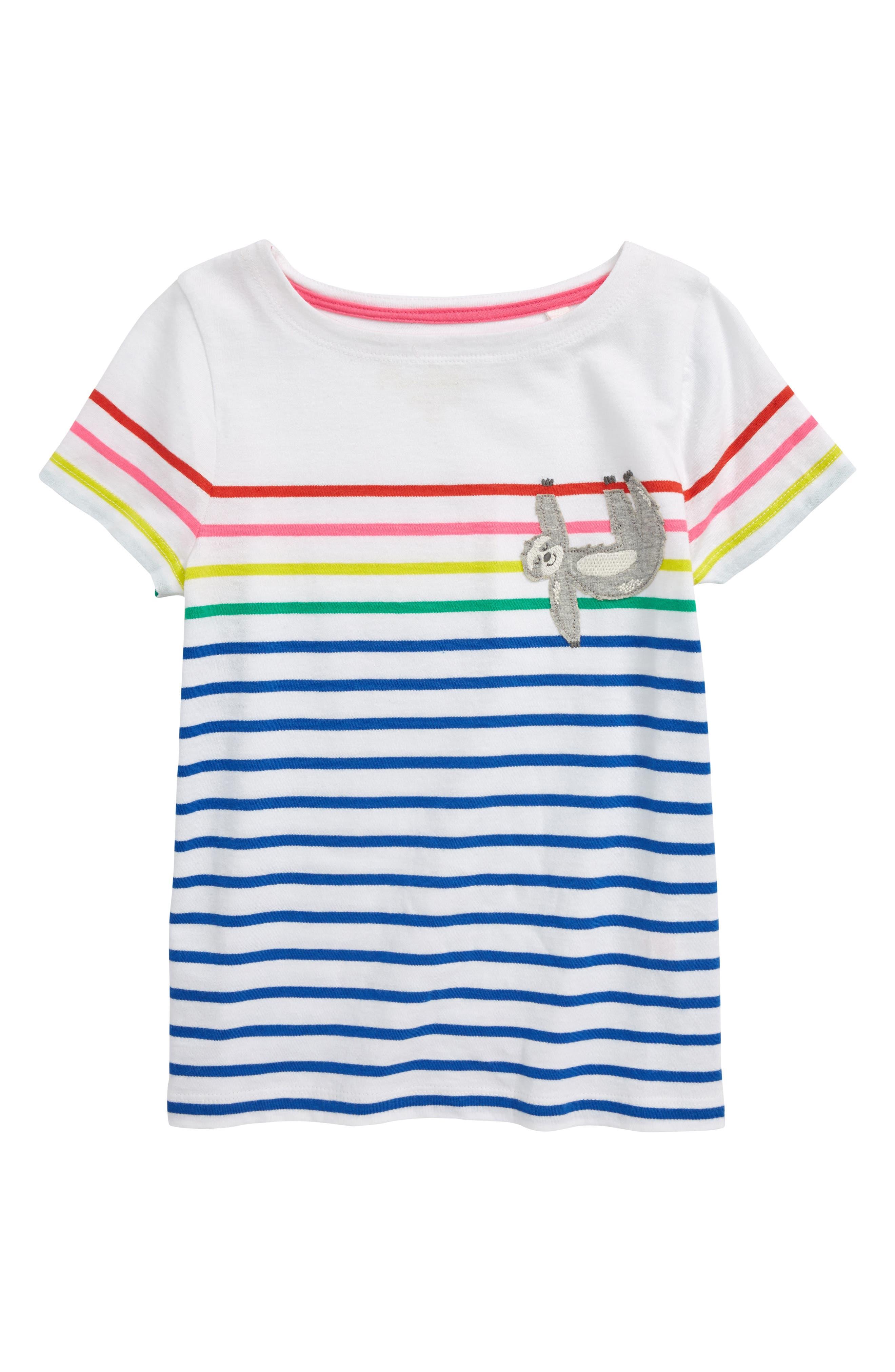 Breton Stripe Tee, Main, color, BLU DUKE BLUE/ RAINBOW SLOTH