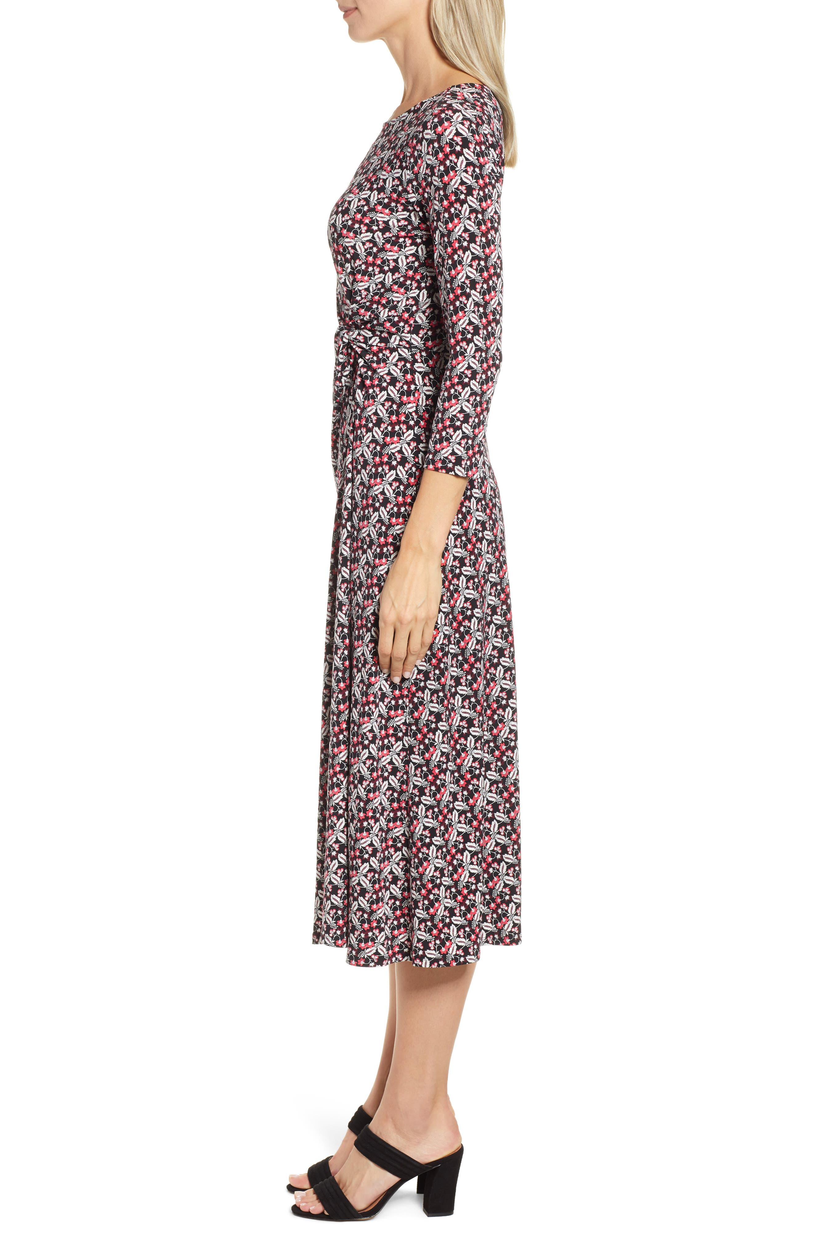 ,                             Knot Front Ditsy Dress,                             Alternate thumbnail 4, color,                             CORAL CHARM