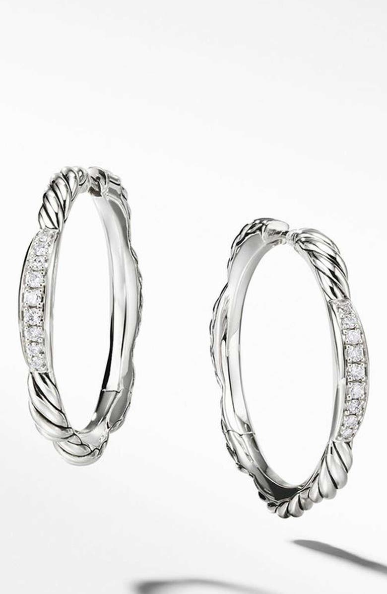 DAVID YURMAN Tides Collection Hoop Earrings with Diamonds, Main, color, STERLING SILVER/ DIAMOND