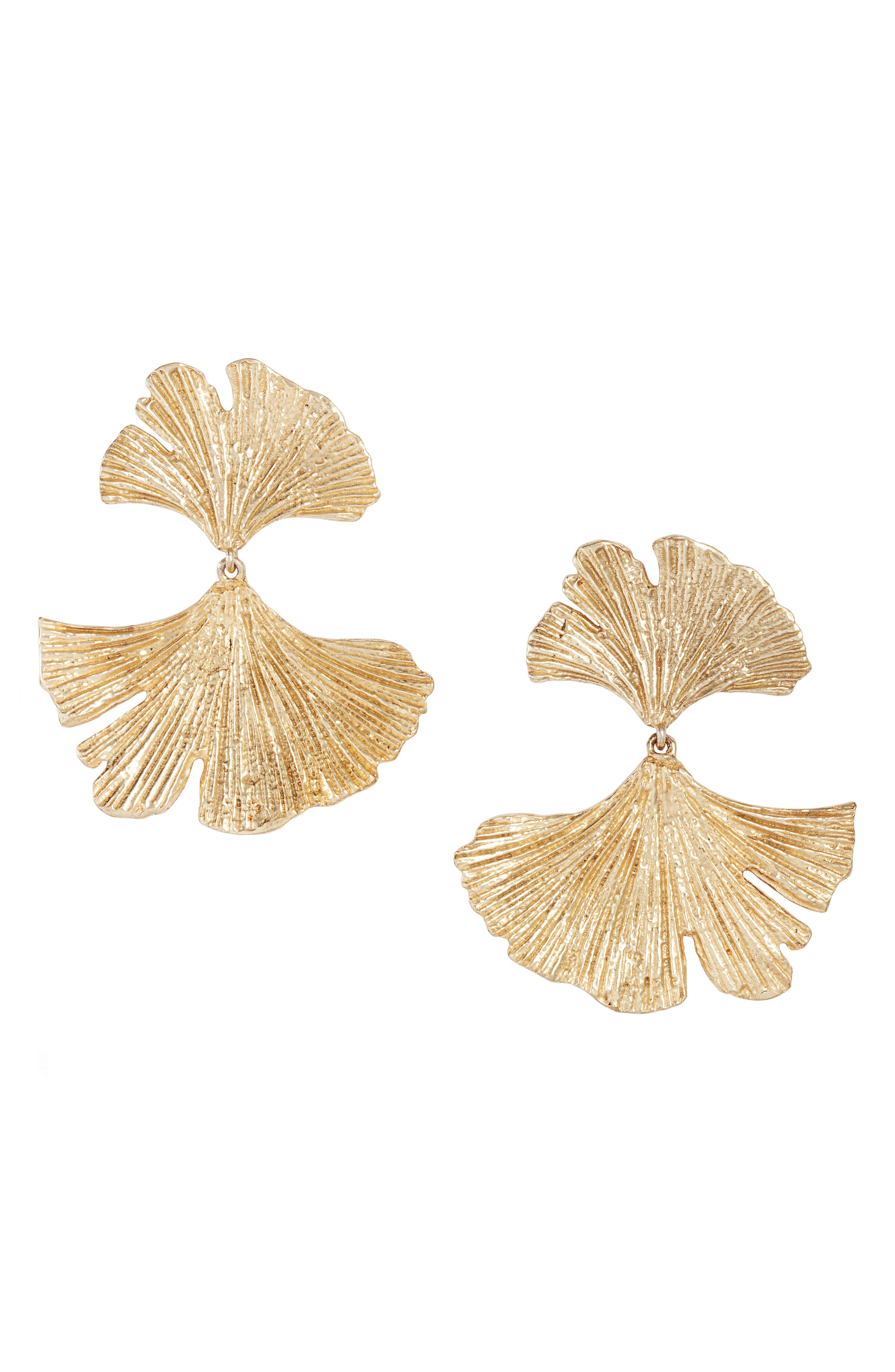 Collections by Joya Gingko Statement Earrings in Gold at Nordstrom