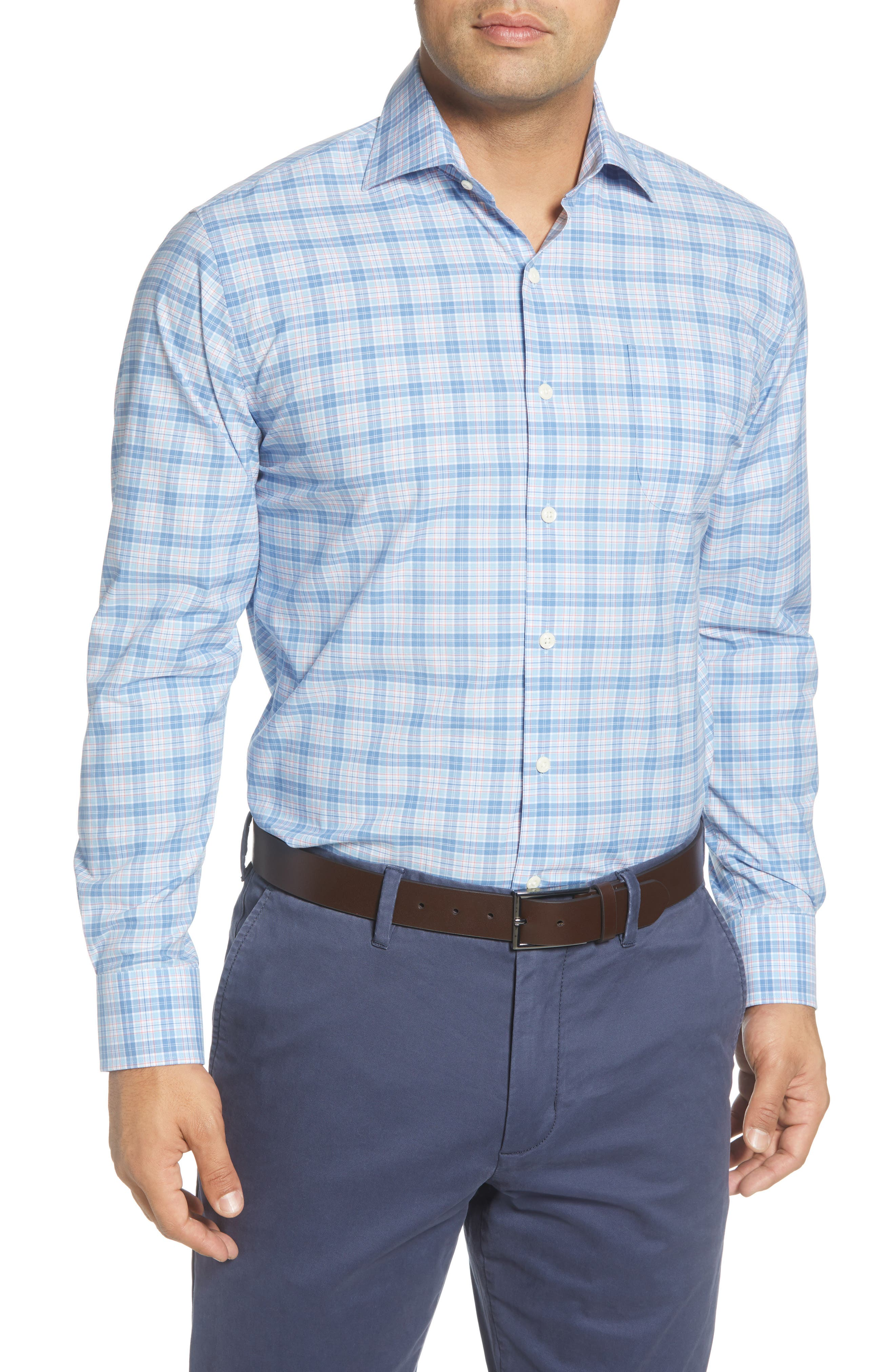 An easy fit, easy-car sport shirt in plaid-patterned, lightweight stretch cotton sets your look for a day at the office all the way into a night out. Style Name: Peter Millar Barrett Regular Fit Plaid Button-Up Shirt. Style Number: 5953485. Available in stores.