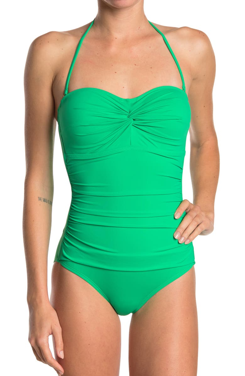 TOMMY BAHAMA Front Twist Shirred One-Piece Swimsuit, Main, color, CARIBBEAN GREEN