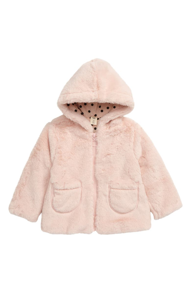 TUCKER + TATE Cozy Faux Fur Hooded Jacket, Main, color, PINK ENGLISH