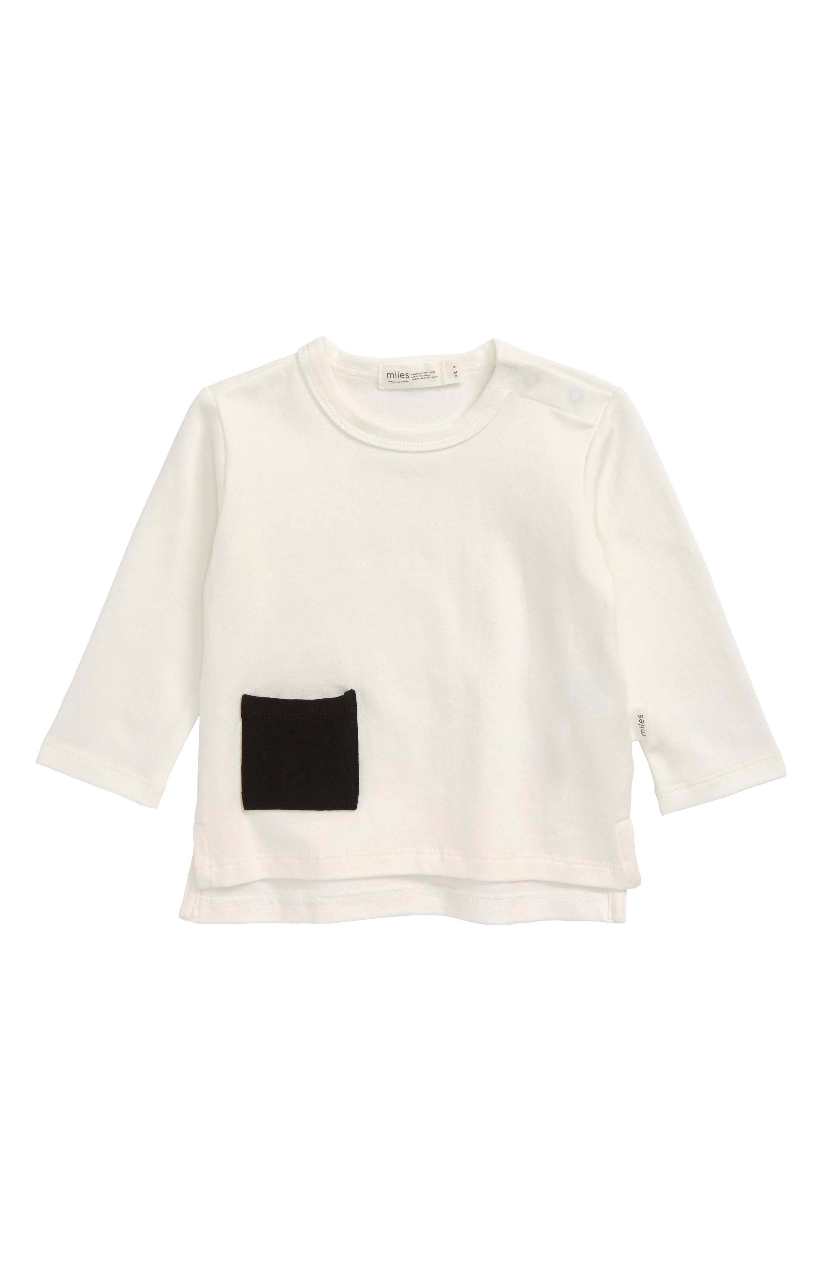 This classic crewneck featuring a contrast patch pocket is cut from soft, stretchy organic cotton and is an essential building block to any great wardrobe. Style Name: Miles Baby Organic Cotton Pocket T-Shirt (Baby). Style Number: 5886430 1. Available in stores.