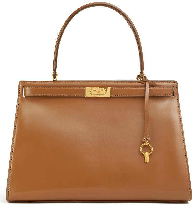 TORY BURCH Large Lee Radziwill Leather Bag, Main, color, MOOSE