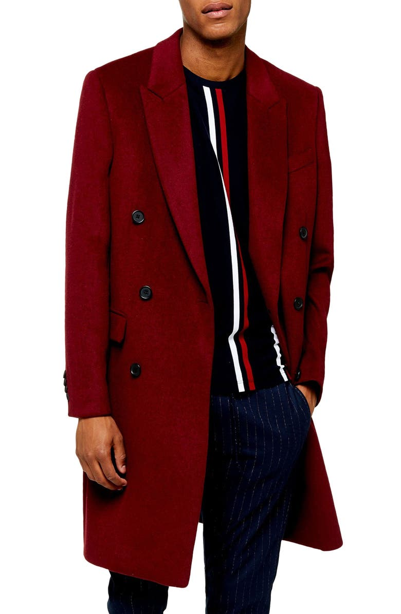 TOPMAN Frazer Double Breasted Coat, Main, color, BURGUNDY