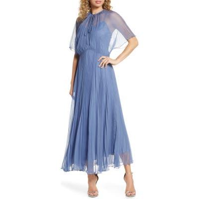 Jill Jill Stuart Pleated Chiffon Gown, Blue