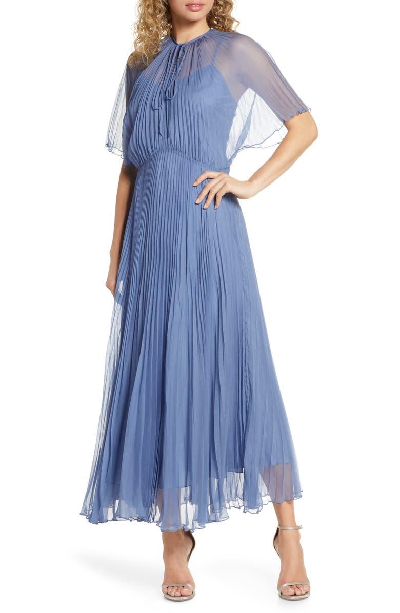 JILL JILL STUART Pleated Chiffon Gown, Main, color, WEDGEWOOD