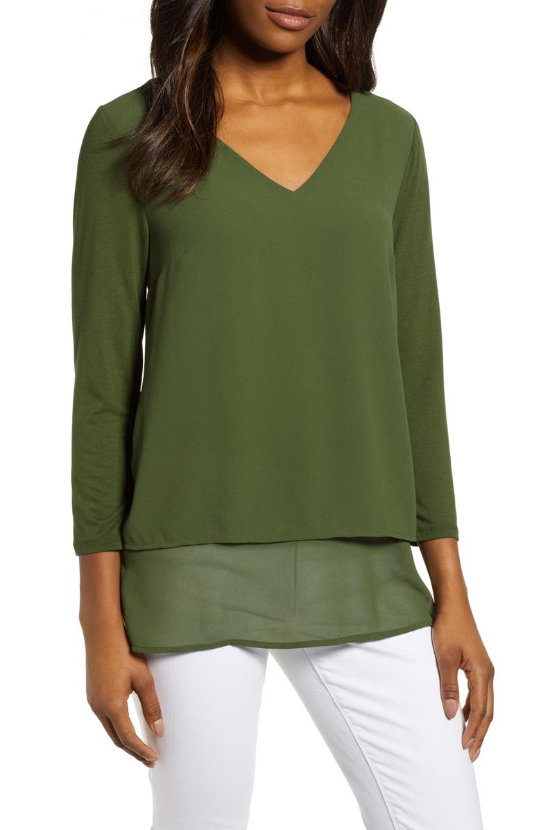 MICHAEL MICHAEL KORS Mixed Media V-Neck Top, Main, color, MOSS