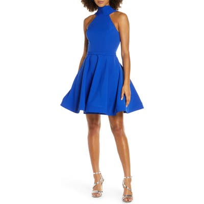 MAC Duggal High Neck Fit & Flare Party Dress, Blue