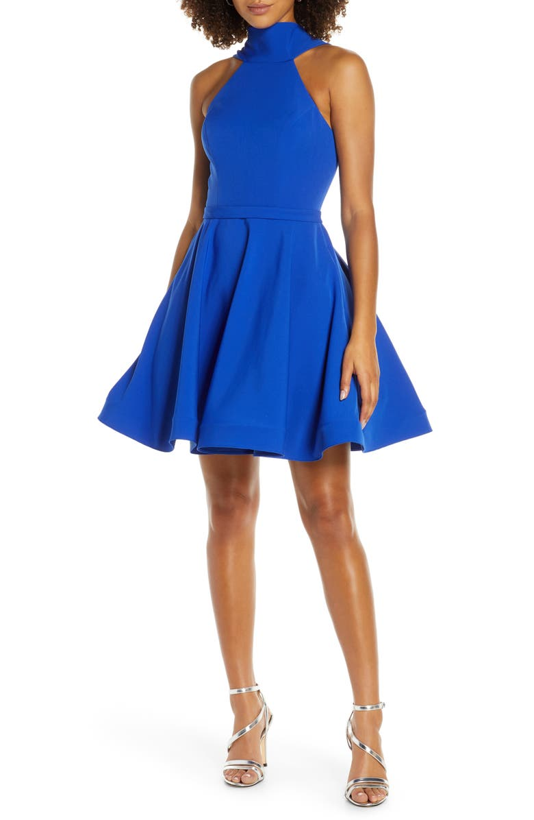 MAC DUGGAL High Neck Fit & Flare Party Dress, Main, color, ROYAL