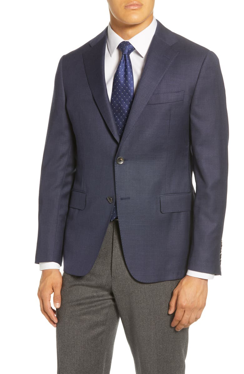 HICKEY FREEMAN Traveler Classic Fit Hopsack Wool Blazer, Main, color, NAVY