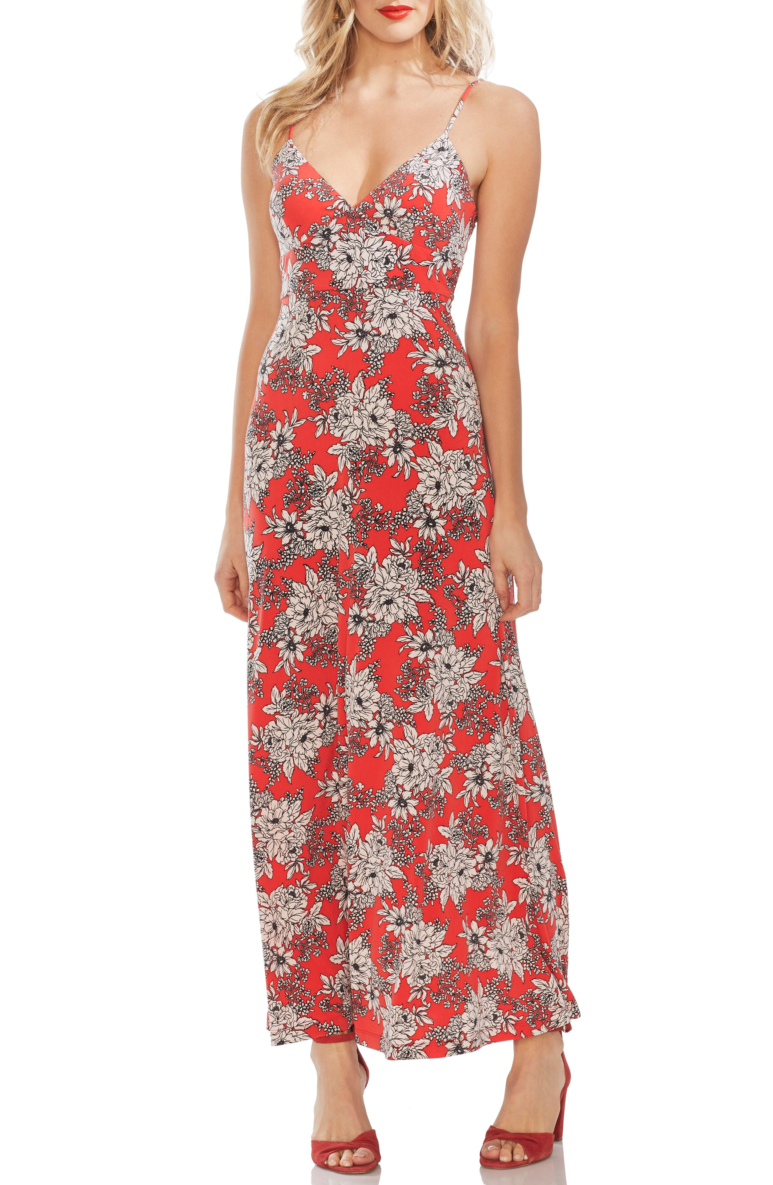Vince Camuto Boudoir Botanical Maxi Dress, Red