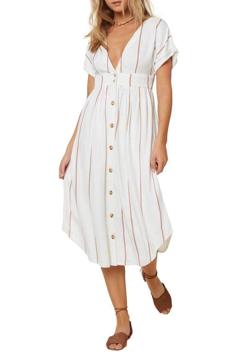 O'NEILL Reid Stripe Midi Dress, Main, color, BRIGHT WHITE