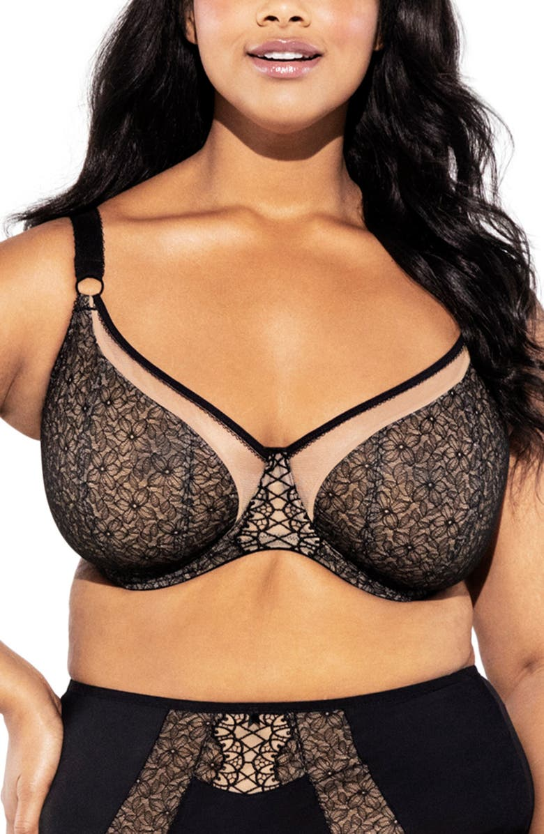 ELOMI Sadie Underwire Balcony Bra, Main, color, BLACK