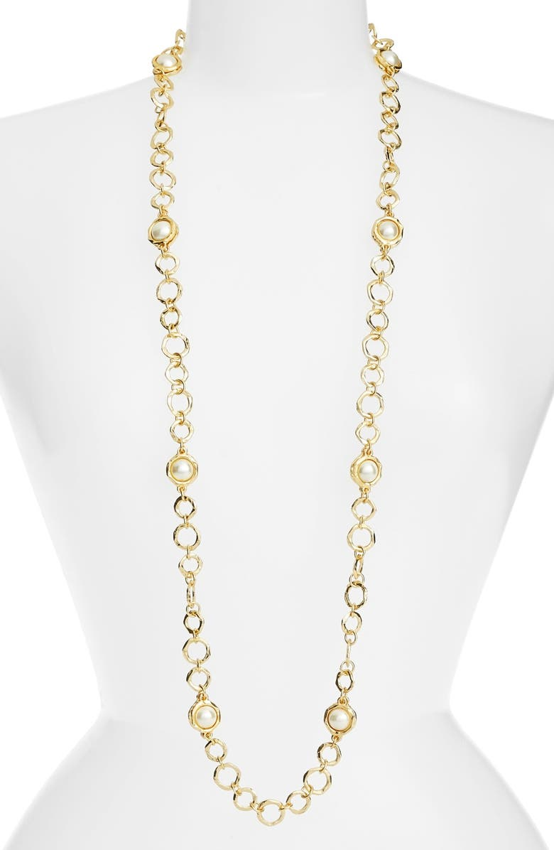 KARINE SULTAN Long Imitation Pearl Necklace, Main, color, GOLD