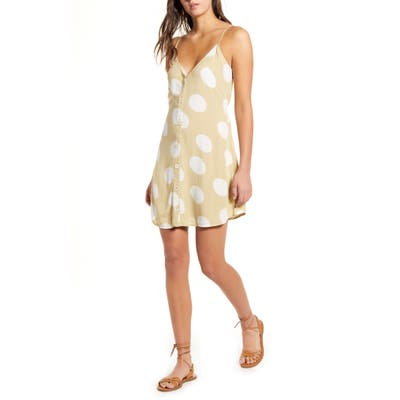 Billabong Sweet For Ya Floral Button Front Tie Back Minidress, Green