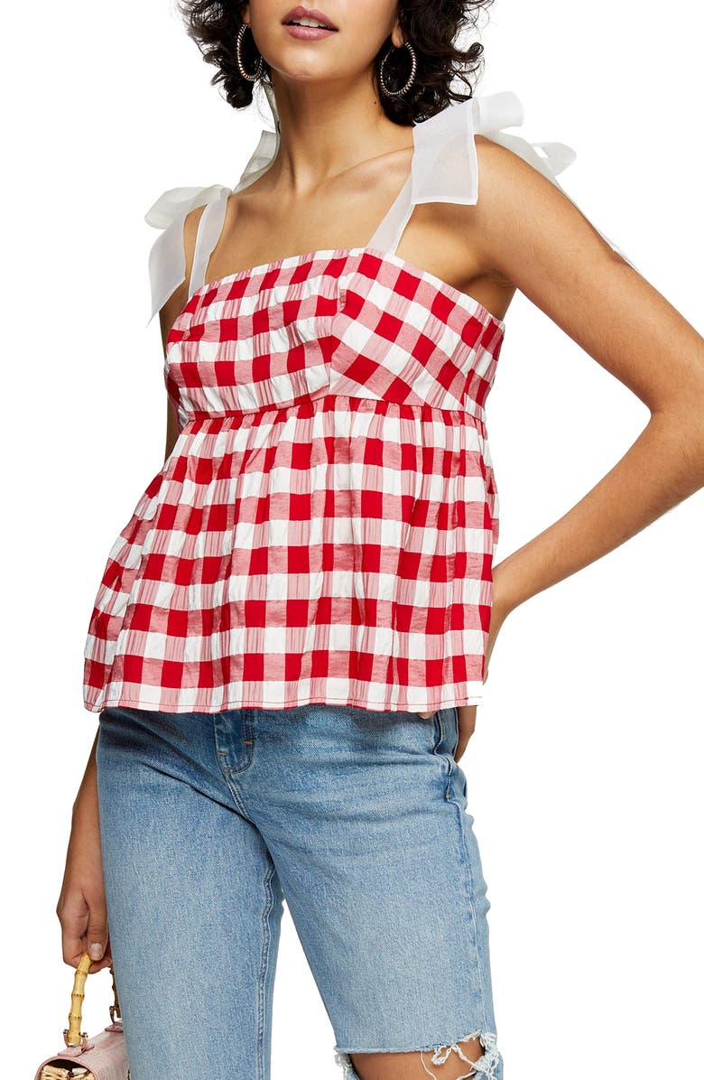 TOPSHOP Gingham Tie Shoulder Tank Top, Main, color, RED MULTI