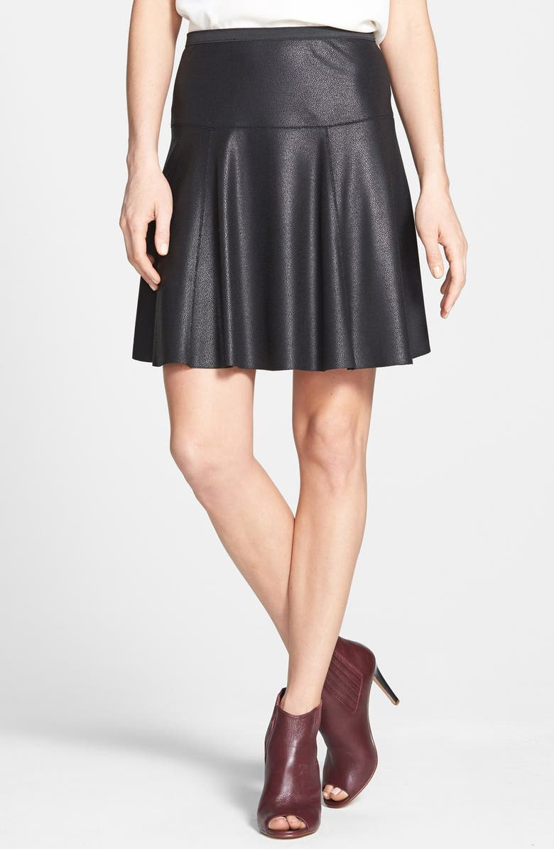 KAREN KANE Faux Leather Skater Skirt, Main, color, 001