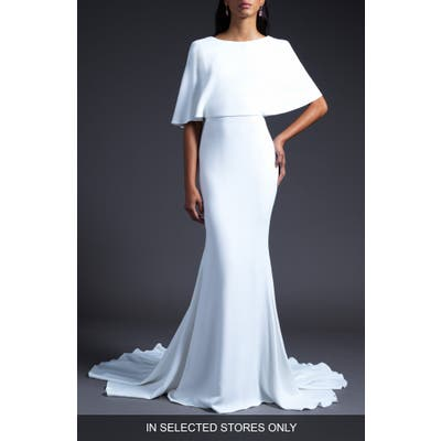 Cushnie Open Back Cape Shoulder Wedding Dress