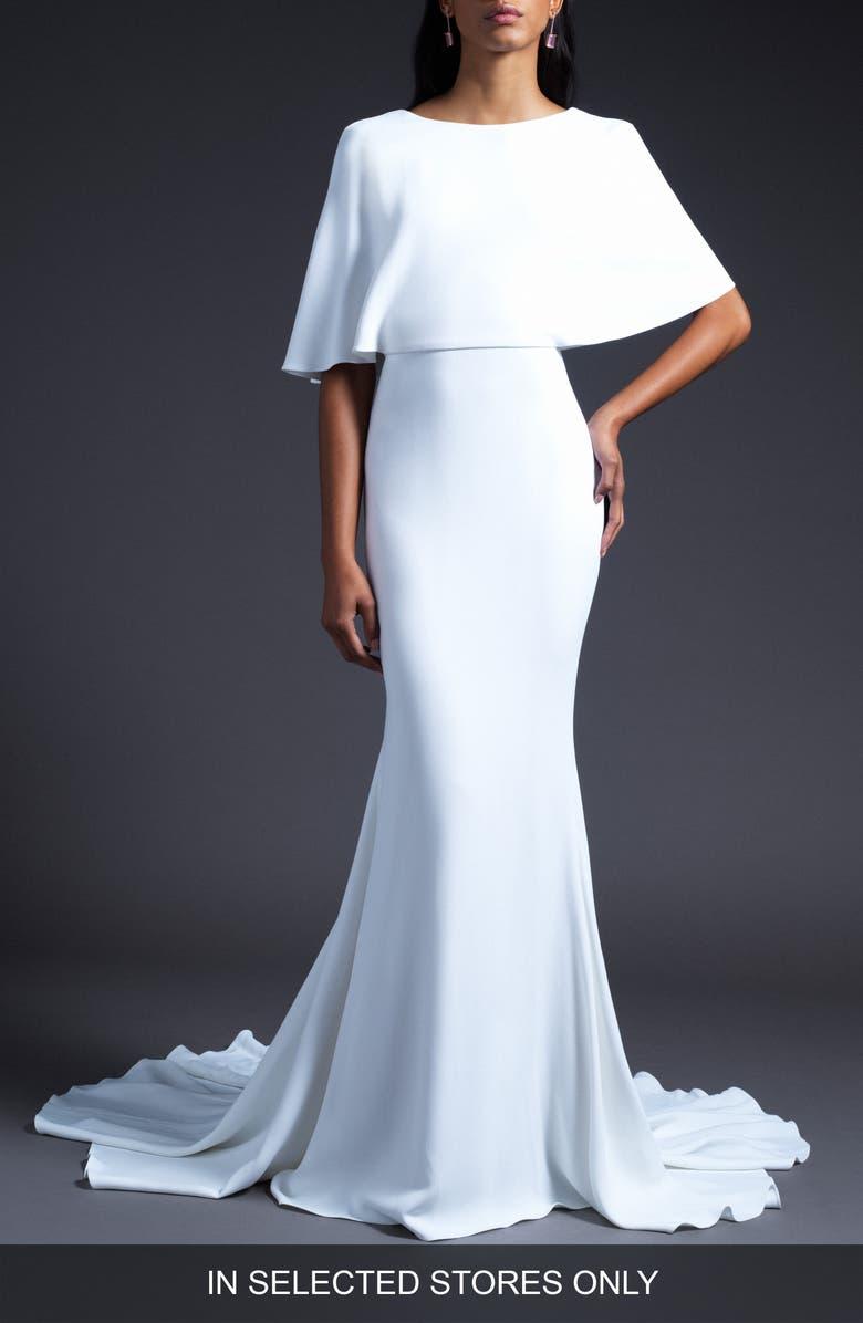 CUSHNIE Open Back Cape Shoulder Wedding Dress, Main, color, WHITE