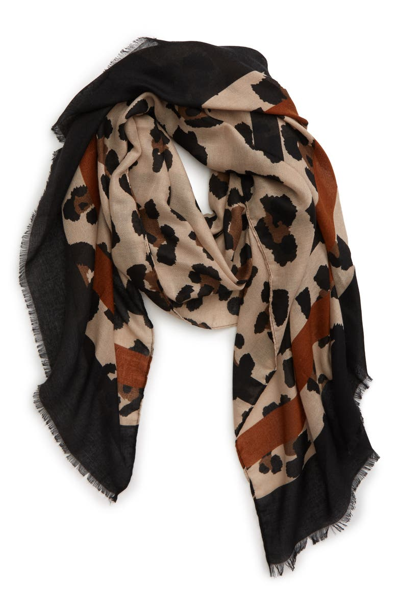 SOLE SOCIETY Leopard Print Scarf, Main, color, 230